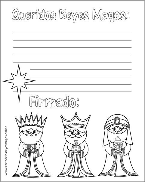 Carta Reyes Magos para colorear