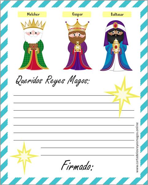 Carta de los Reyes Magos para los niños
