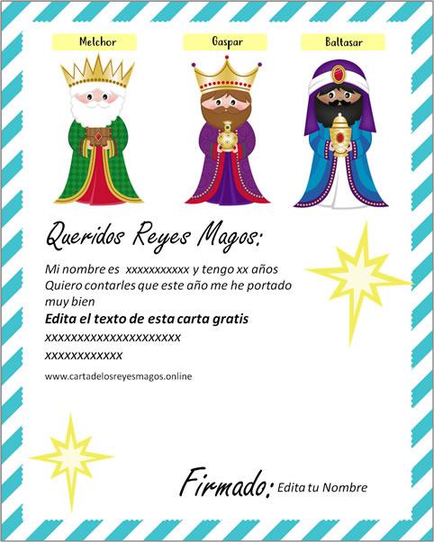 Carta a los Reyes Magos gratis