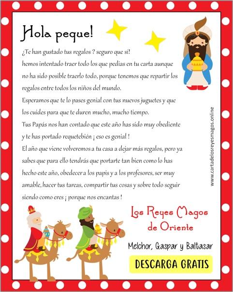Carta de los Reyes Magos a los Niños