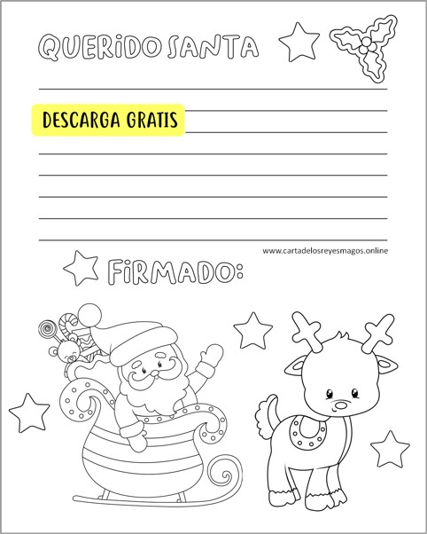 Carta Santa Claus Para colorear