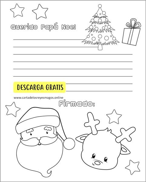 Carta A Santa Para Colorear