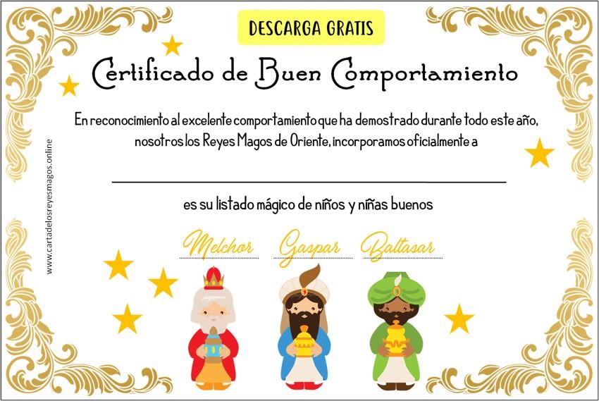Certificado De Comportamiento De Reyes Magos